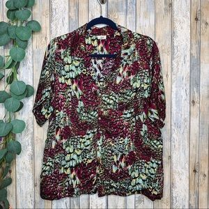 Tiny Anthro Purple Green Printed Button Down Top